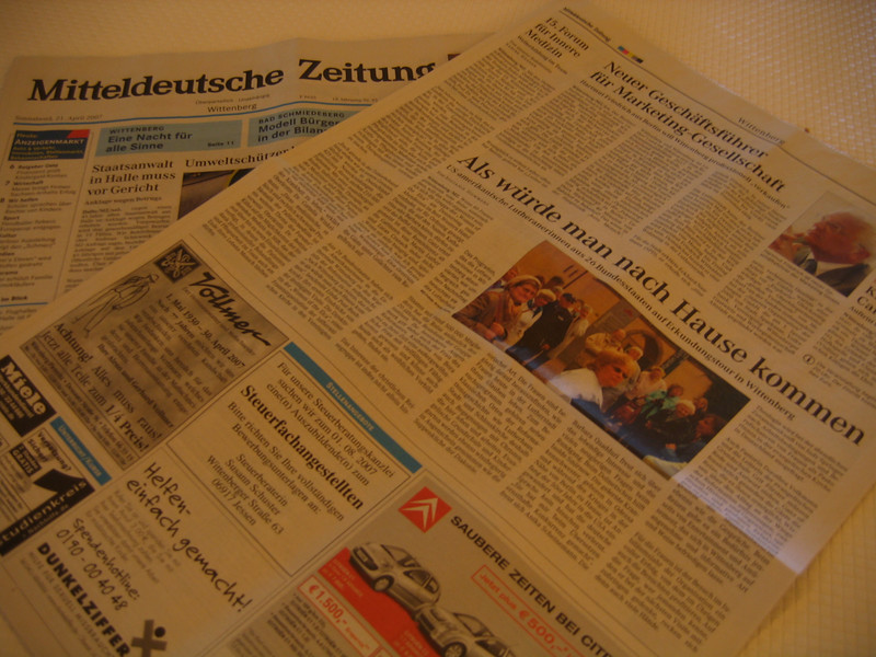 Women of the ELCA make the news in the Mitteldeutsche Zeitung (see a blog entry on this one).