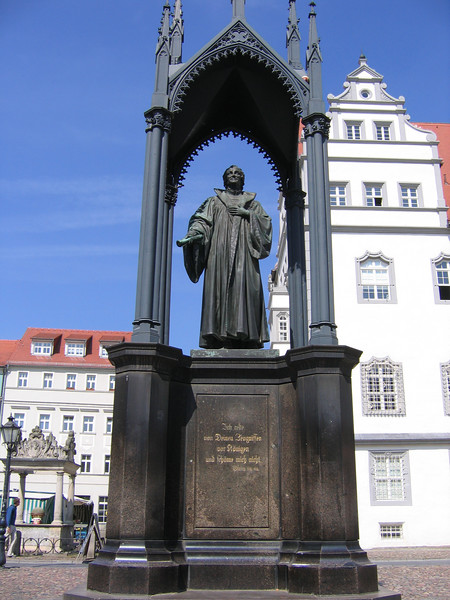 A Martin Luther statue in the market square of Wittenberg.