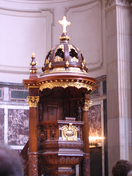 An equally ornate pulpit in the Berlin Cathedral.
