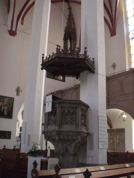 The pulpit in the Thomaskirche in Leipzig.