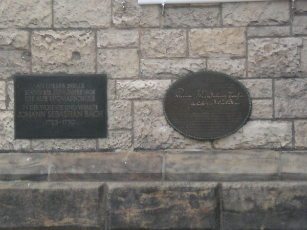The oval plaque commemorates the wife of Johann Sebastian Bach, Anna Magdalena Bach, a fine musician herself.