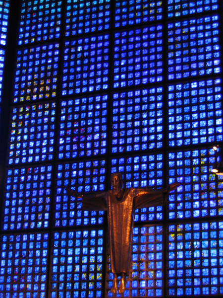 Interior wall of the Kaiser-Wilhelm Memorial Church, with 20,000 blue glass windows made in Chartres.