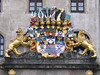 The castle bearing the coat of arms of the duchy of Saxony-Wittenberg.
