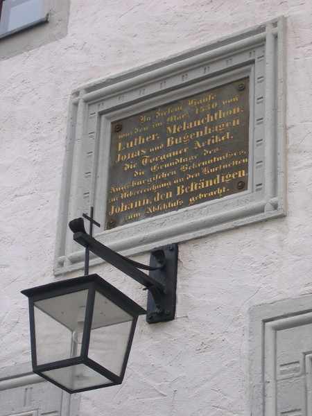 Close to St. Mary's is this building where Luther, Melancthon, Bugenhagen and Jonas wrote the Torgauer Artikel, which was a draft of what became the Augsburg Confession.