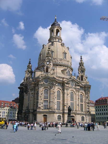 The Frauenkirche (Church of Our Lady) in the main square of Dresden. Destroyed by the English bombing of Dresden in 1945, the church has been rebuilt with assistance from around the world. It opened about 1 1/2 years ago. It is an extraordinary site.