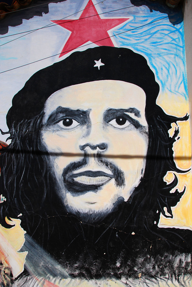 Che mural at the hospital in Vallegrande