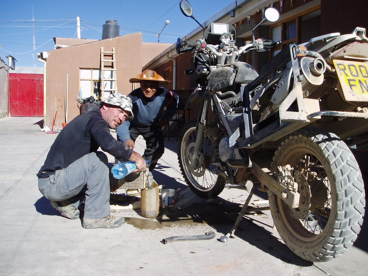 Waterpump replacement and Rad flush.  Tati Laura Hostel.  Uyuni