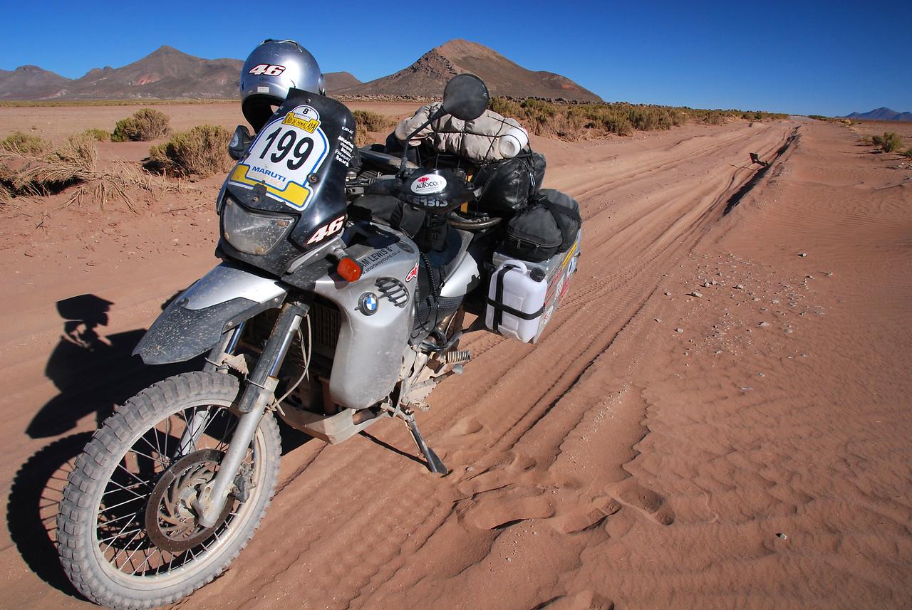 ''Mmmm...sand...my favourite!'' - Salinas de Garci-Mendoza - Huari road