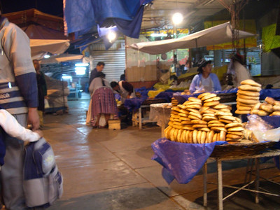 Bread stacked for sale.