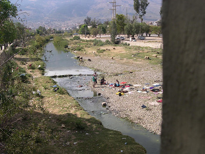 The river through Cochabamba: People were washing clothes here.