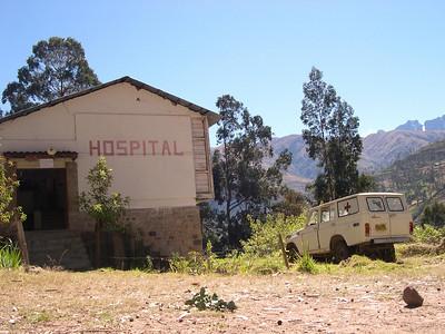 Morochata hospital and retired ambulance.