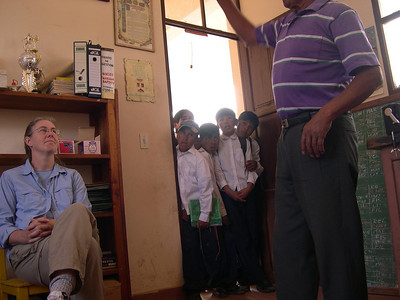While the school secretary talked to Kjirsten the children stared at us.