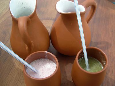 Kiwi & strawberry licuados.: Blend kiwi, water and sugar.  Yum!