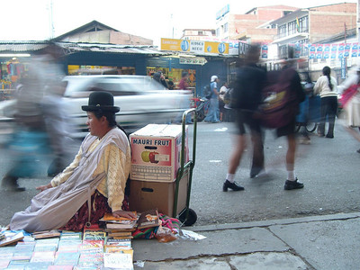 A typical woman selling goods on the street.