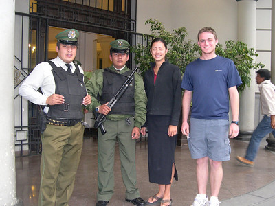 Guards outside a bank.: They smiled until photo time!