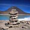 Pile of rocks, volcano, and Laguna Blanca
