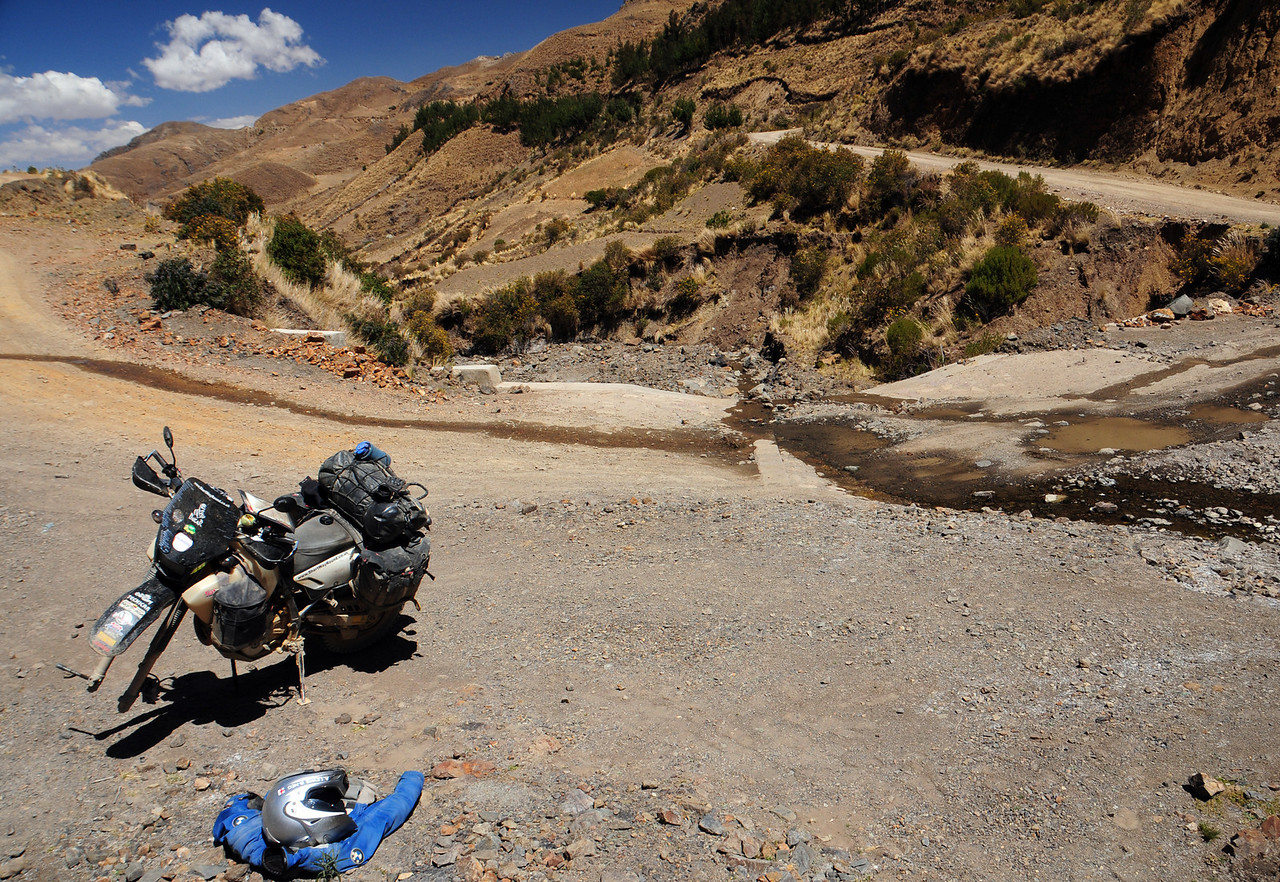Puncture on the Coroico - Cochabamba Road