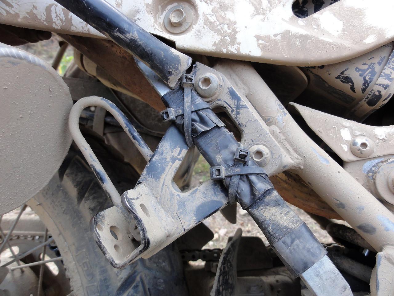 Broken RH pannier frame.  Coroico - Cochabamba Road (1st repair)