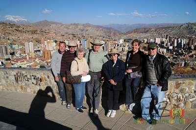 Overlooking La Paz, Bolivia with Illimani (the mountain) in the background. Shawn, dad, mom, Randy, Karen, Wendy & Carlos. On the 4th of July, 2012