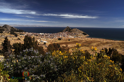 The town of Copacabana, Bolivia on the shores of Lake Titicaca.  That's Peru across the water!