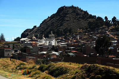 Copacabana, Bolivia with Calvario in the background. . . we didn't hike up there!