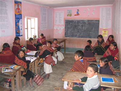 In de klas. Molle Mayu, Bolivia.