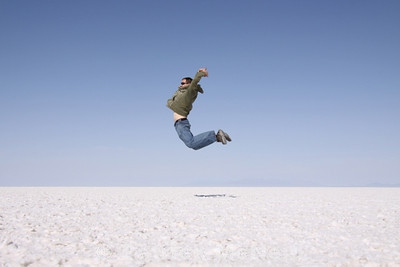 Salar de Uyuni, look how high I can jump (P.S. - It's a camera trick)