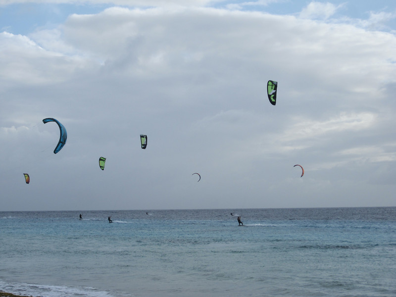 Kiteboarding over on another beach