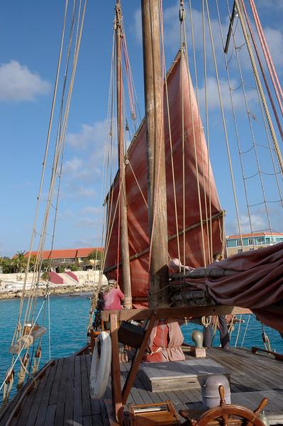 Captain rigging the sails.