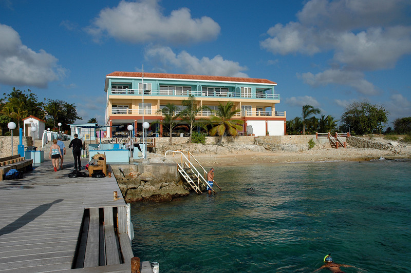 View of Sand Dollar Restaurant from the dive dock, breakfast with a view each morning.