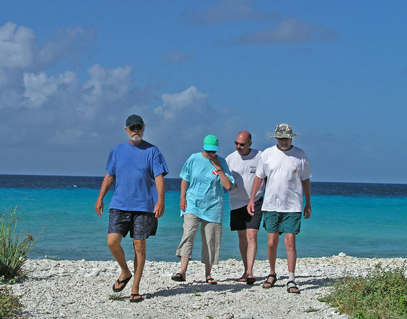Checking out the site my dive buddies left to right: Jerry Kane, Barbara Kono, Steve Bruce and Lance Lovering