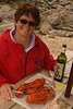 Two lobsters and a bottle of wine Monhegan, ME