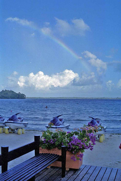 Rainbow at the dock at Club Med