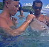 Me getting kisses from a stingray!
