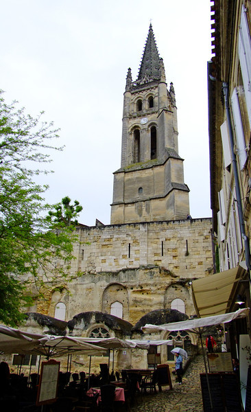 View up to the cathedral from village shopping area.