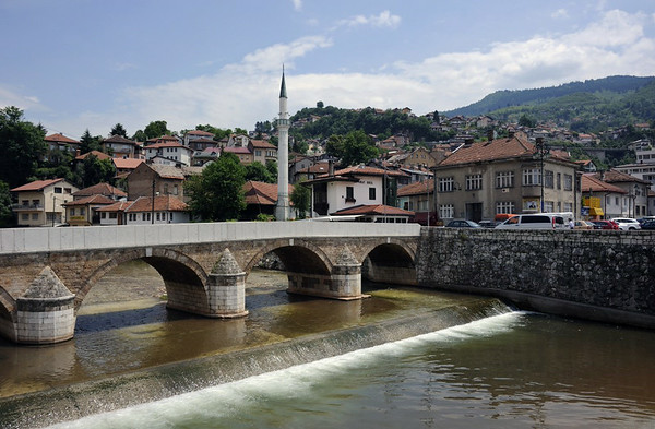 Seher-cehaja's bridge, Sarajevo, Bosnia-Hercegovina, 13 June 2014 1.  Looking south east from near the city hall, up the River Miljacka.  This is the extreme eastern end of Sarajevo.