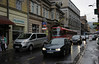 Parked van blocks tram, Ulica Mula Mustafe Baseskije, Sarajevo, Bosnia-Hercegovina, 13 June 2014.  Looking east as the rain continues to pour.