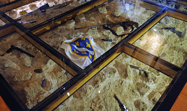 Alija Izetbegovic museum, Kula Ploce Tower, Sarajevo, Bosnia-Hercegovina, 13 June 2014 3.  Weapons display.