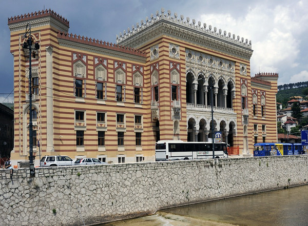 City hall, Sarajevo, 13 June 2014.  After the bombing, Franz Ferdinand and Sophie safely reached the city hall, seen here.  They then decided to abandon their planned programme to visit those wounded by the bombing in hospital.  In later years the building became a university library.  It was shelled and burnt out in 1992 during the siege.  It has been restored, and was officially reopened on 10 May 2014.  But it was closed to the public at the time of my visit.