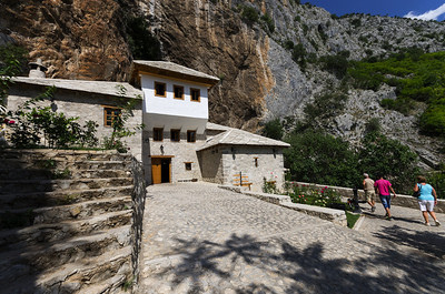 Dervish Monastery The Tekija (Tekke) was built in the 16th century during the reign of Mostar Mufti (A Muslim scholar who interprets the shari'a) Ziyauddin-Ahmed ibni Mustafa .  It leans right to the cliffs above the source of the Buna river. The dervishes that lived here used to enjoy friendly talks and scientific discussions. There is a Turbe (shrine, tomb, mausoleum) next to the Tekija where the tombs of long-term sheiks Sari Saltuk and Acik Pasha are found. The toombstone protect the remnants of Sari-Saltuk and Acik-pasha-longterm sheikh of this Tekija. In 1851 , Omer – Pasha Latas repaired the Tekija and the musafirhana, and since 1952, the Tekija has been protected by the State.