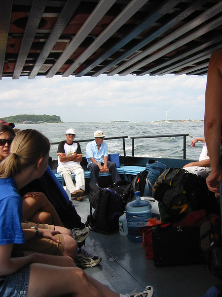 On the water taxi over to Grape Island