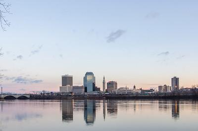 springfield massachusetts city skyline early morning