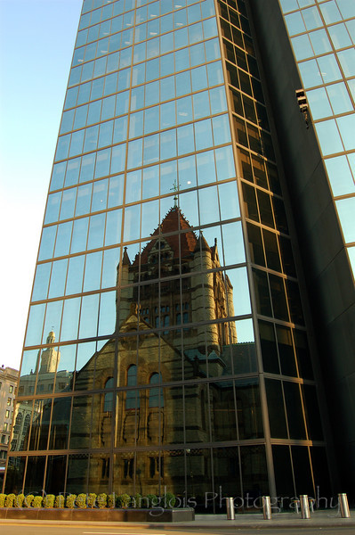 Trinity Church reflected in the John Hancock towers