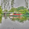 Swan boats on a rainy day in the Public Garden.  Boston, MA
