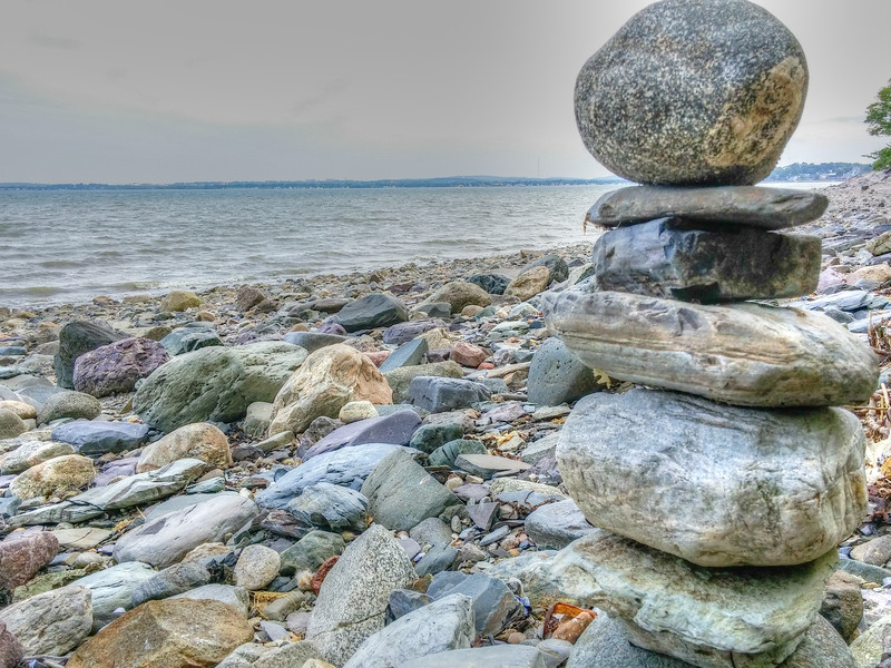 Cairn on the Beach. Moon Island, Boston MA