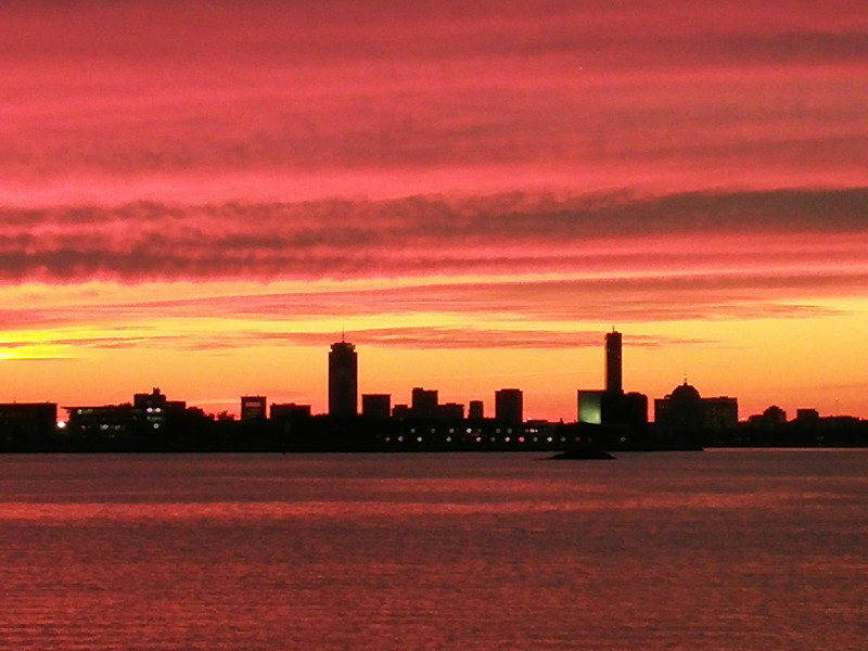 Boston skyline in red.