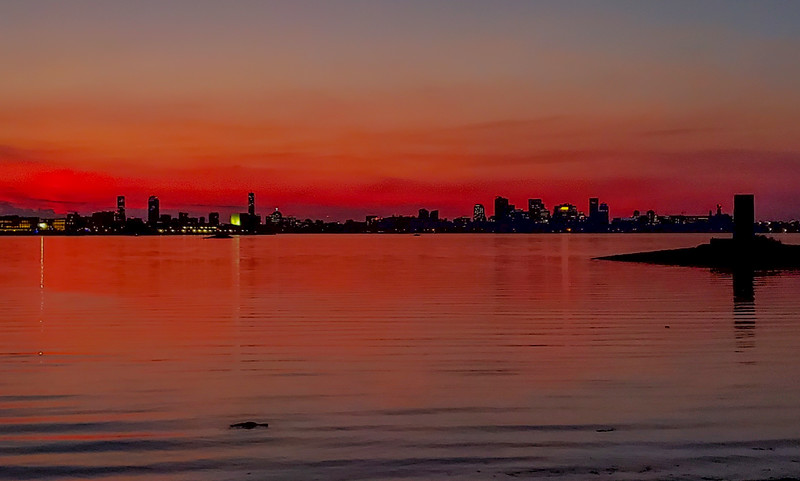Red Sunset over Boston skyline
