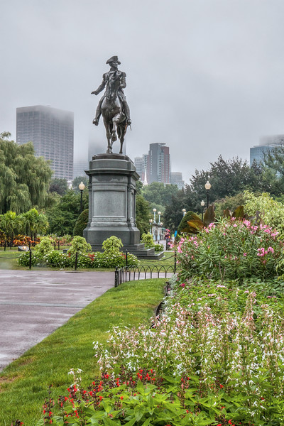 Statue of George Washington in the Public Garden. Boston, MA