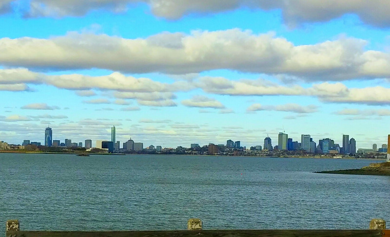 Boston skyline on a beautiful day.