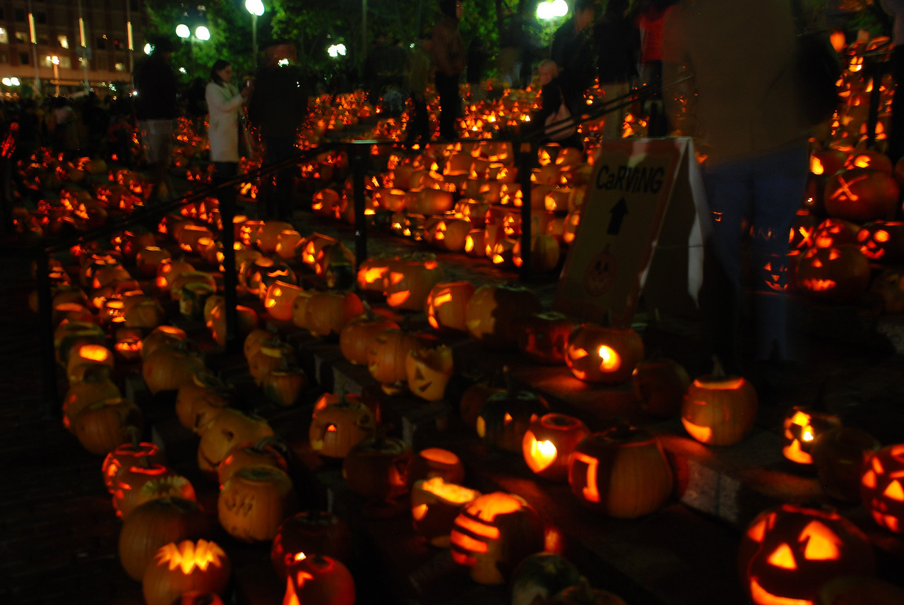 thousands of thanksgiving pumpkins in front of the City Hall